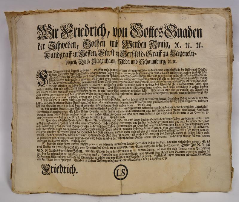 Royal decree regulating Jews in the Hessian lands