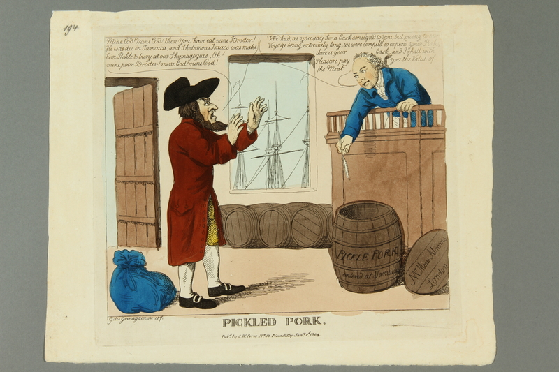 2016.184.584 front Cartoon of a Jewish man learning his brother was consumed as pickled pork