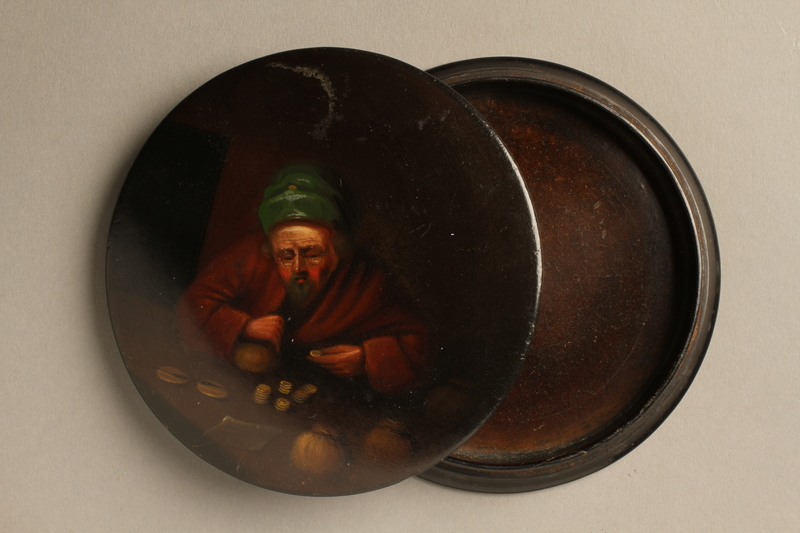 2016.184.592_a-b top Wooden painted box with a painted image of a Jewish money lender