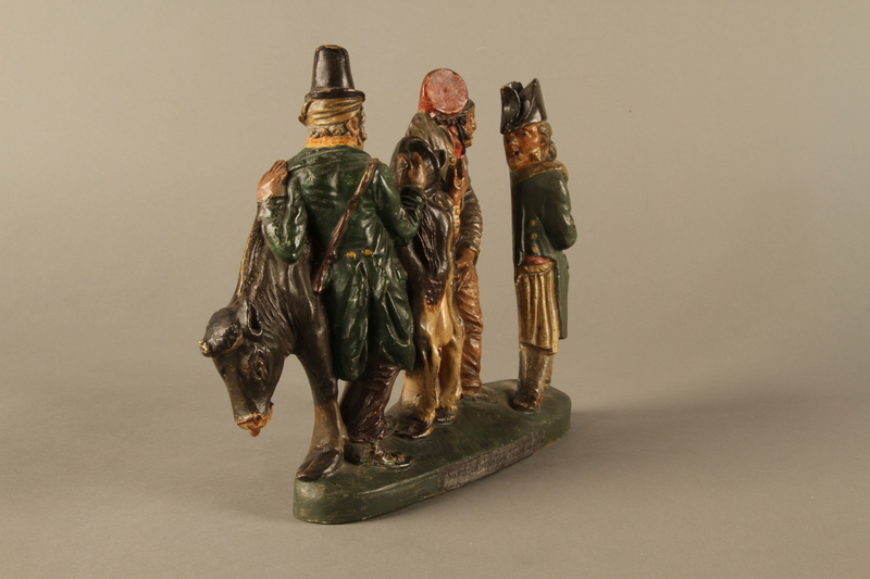 2016.184.602 right side Terracotta figure group of 2 Jewish traders selling an old used cow to a gentile