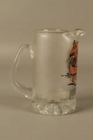 2016.184.604 right side Glass mug painted with a Jewish man dancing with a pig  Click to enlarge