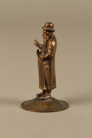 2016.184.615 left side Bronze cast figurine of a Jewish matchmaker with his umbrella  Click to enlarge