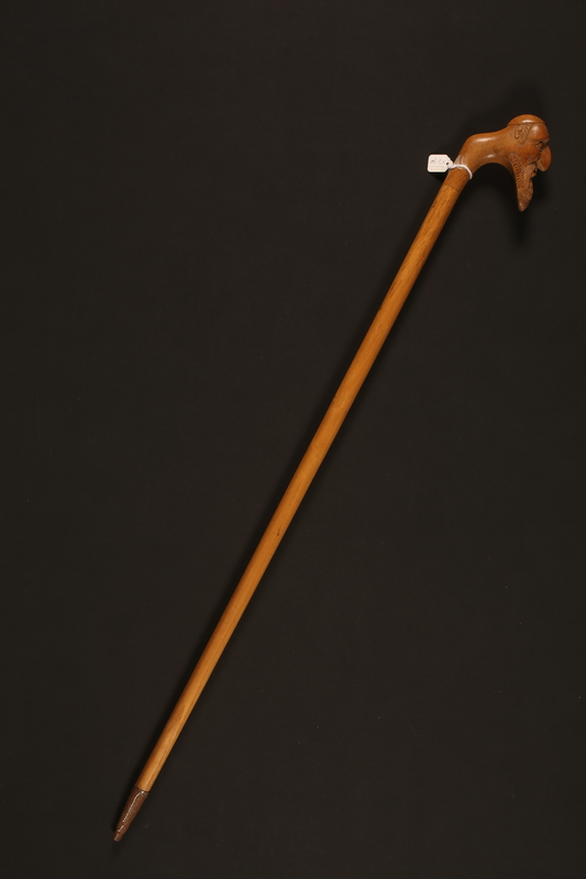 2016.184.618 right Walking stick with a handle carved as a sorrowful Jewish man's head