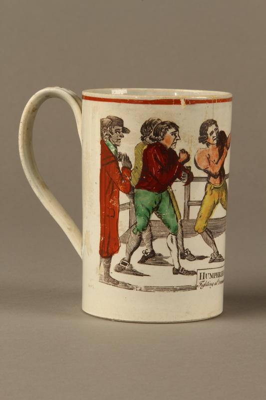 2016.184.630 right Staffordshire pearlware mug, 3rd Mendoza v Humphreys bout