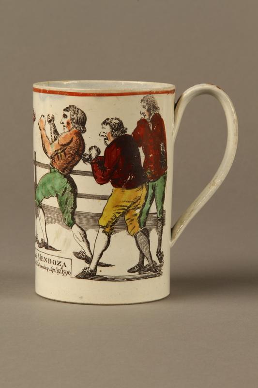 2016.184.630 left Staffordshire pearlware mug, 3rd Mendoza v Humphreys bout