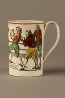 2016.184.630 left Staffordshire pearlware mug, 3rd Mendoza v Humphreys bout  Click to enlarge