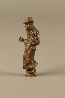 2016.184.631 left side Bronze figurine of a Jewish schnorrer in his traditional long coat  Click to enlarge