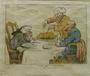 Rowlandson caricature of three elderly Jewish men eating pork