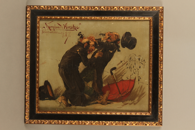 2016.184.634 front Comic painting of two Orthodox Jewish men fighting