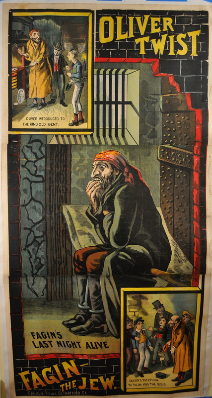Color poster of Fagin in jail for a theatrical production of Oliver Twist