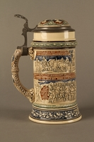 2016.184.641 right side Gray and blue beer stein with images of anti-Jewish fables and politicians  Click to enlarge