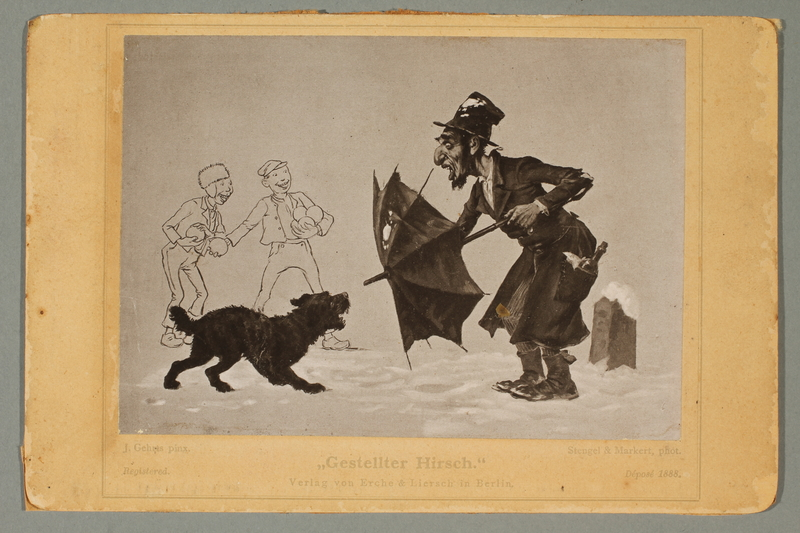 2016.184.646 front Postcard of a Jewish vagrant fending off a dog with his umbrella