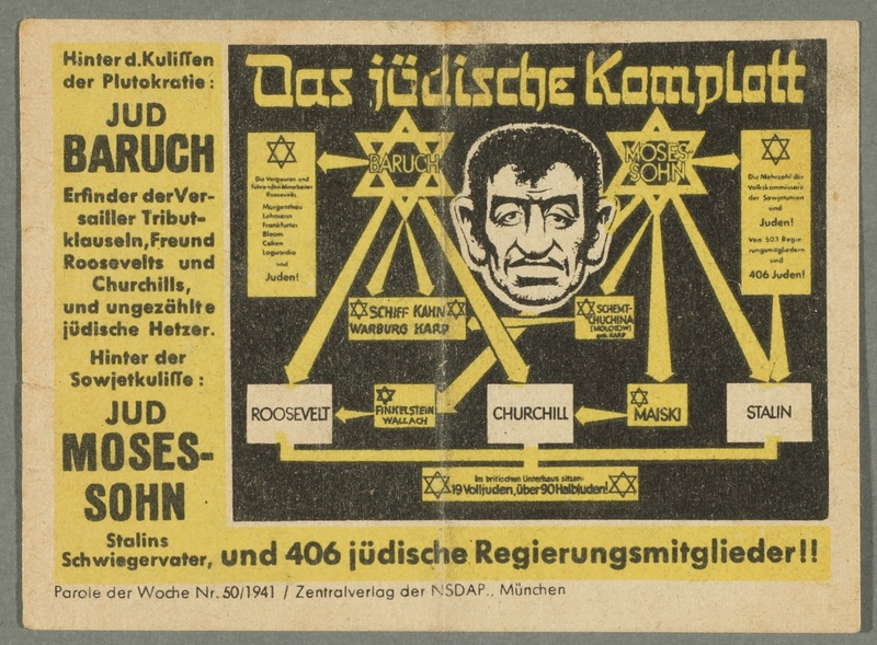 2016.184.647 font Nazi propaganda card exposing the Jewish conspiracy links to the Allied Nations