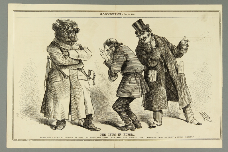 2016.184.658 front Cartoon of a Russian bear urging a poor Jew to go to England
