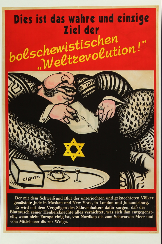 2018.184.662 front Poster with a caricature of a fat Jewish banker as a product of Bolshevik revolution