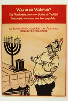 2018.184.663 front Poster with a caricature of Stalin praying to a menorah and top hat  Click to enlarge