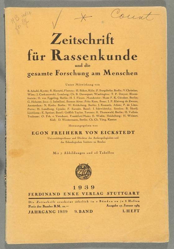 2016.184.680_front Zeitschrift fur Rassenkunde und die gesamte Forschung am Menschen, January 17, 1939, v. 9, issue 1