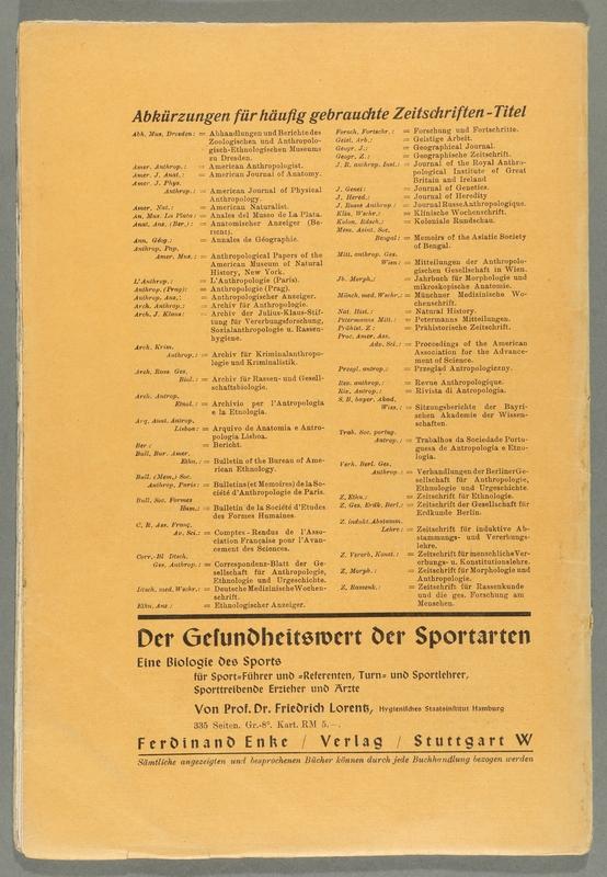 2016.184.680_back Zeitschrift fur Rassenkunde und die gesamte Forschung am Menschen, January 17, 1939, v. 9, issue 1