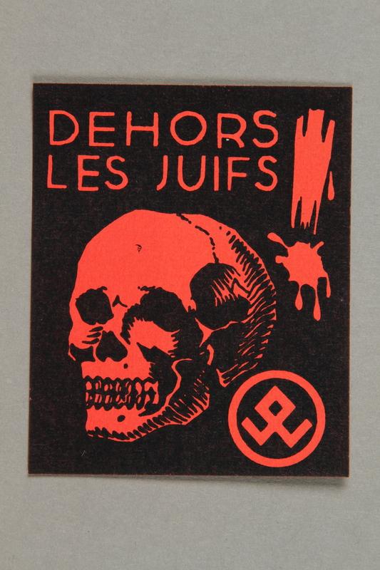 2016.184.684.1 front La Defense du People anti-Jewish propaganda stamp