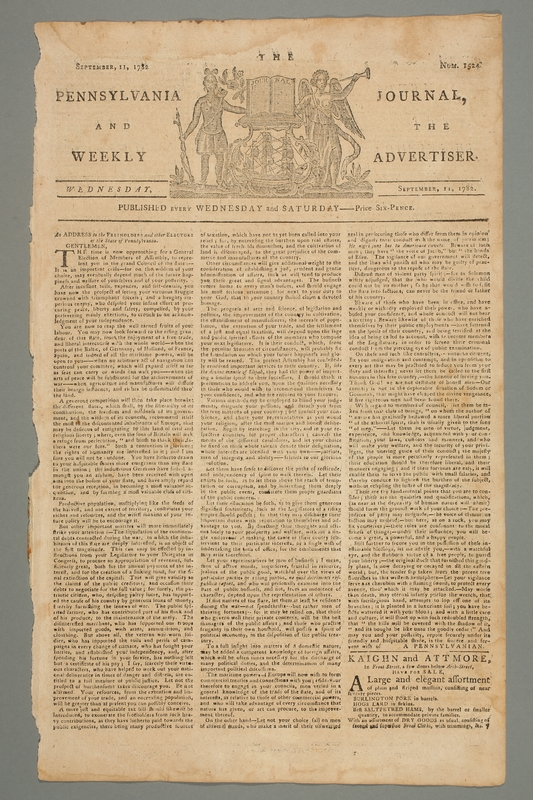 2016.184.694 front The Pennsylvania journal, or, Weekly advertiser, Number 1524, September 11, 1782