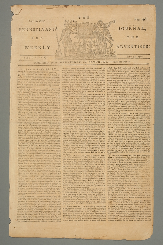 2016.184.696 front The Pennsylvania journal, or, Weekly advertiser