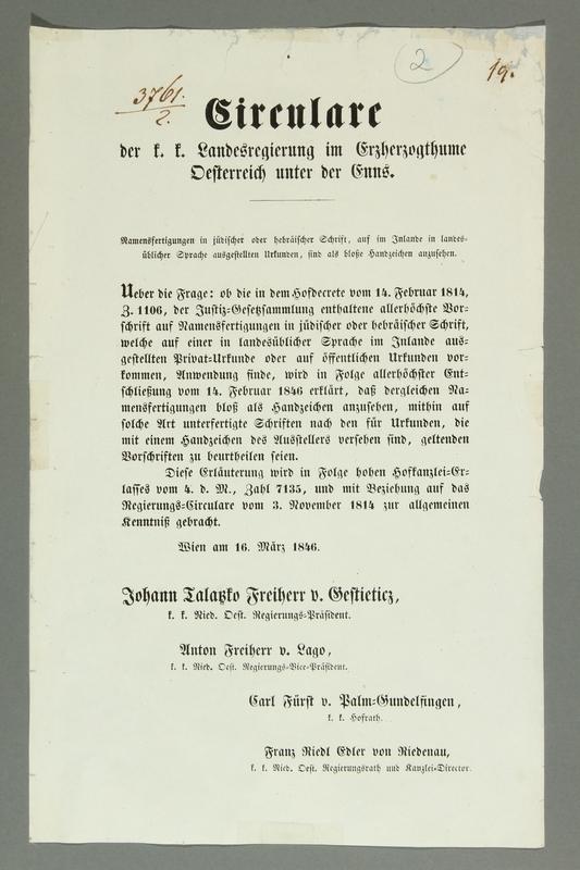 2016.184.708 front German edict of 1808 regulating the Jewish population
