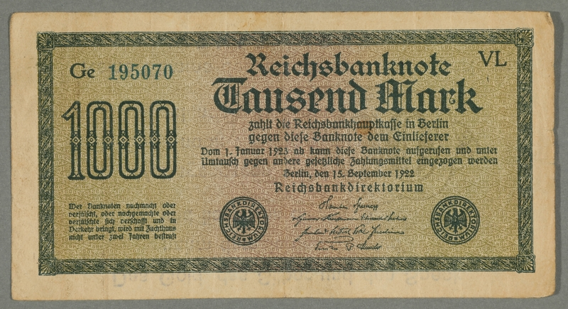 2016.184.713 front.JPG Weimar Germany, 1000 mark note, with antisemitic overprint