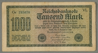 2016.184.713 front.JPG Weimar Germany, 1000 mark note, with antisemitic overprint  Click to enlarge