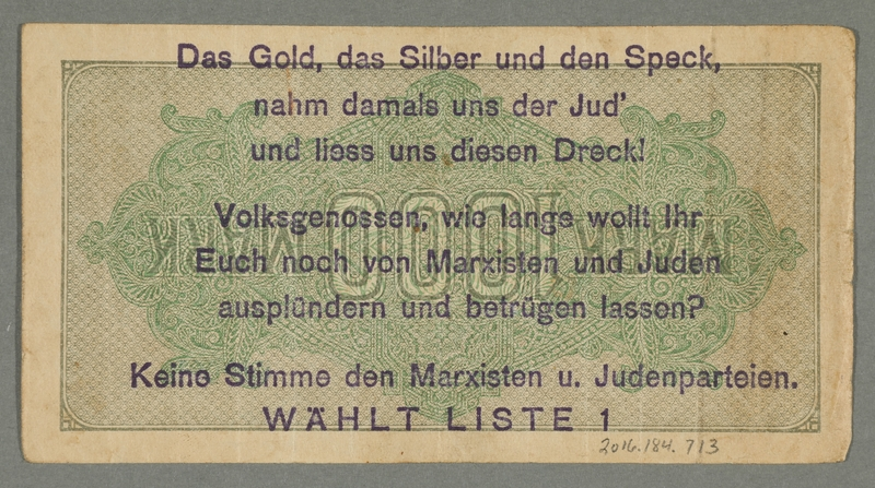 2016.184.713 back Weimar Germany, 1000 mark note, with antisemitic overprint