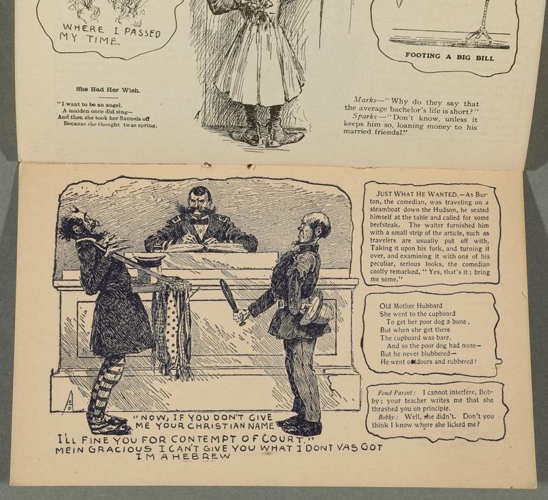 2016.184.717 page 10 Postcard illustrating Jewish stereotypes