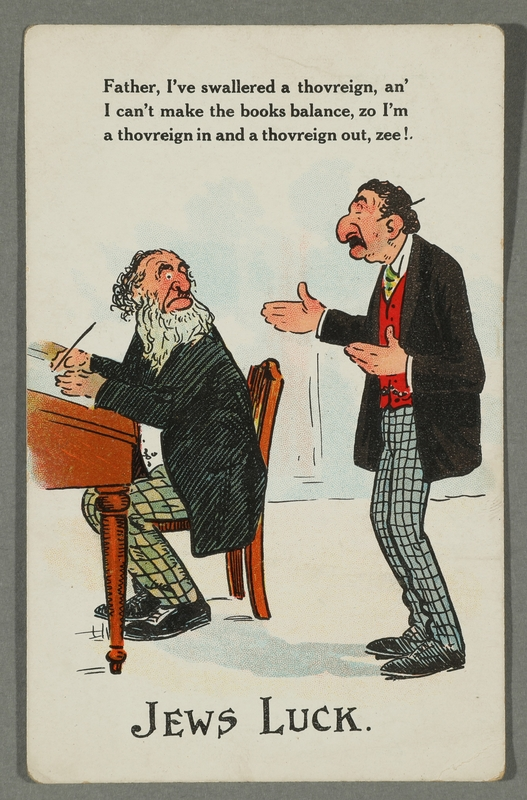 2016.184.718 front Postcard with a cartoon of Jewish accountants