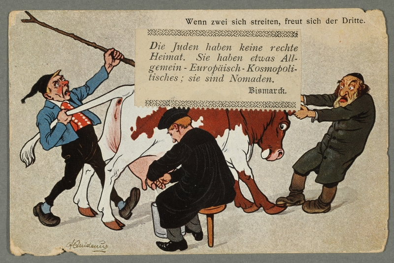 2016.184.719 front Postcard of a Jew, a German, and a Hungarian fighting over a cow