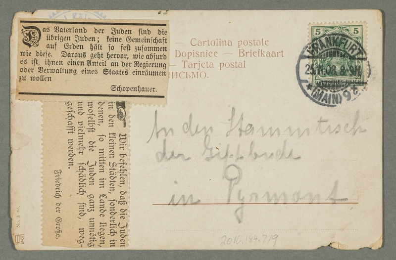 2016.184.719 back Postcard of a Jew, a German, and a Hungarian fighting over a cow