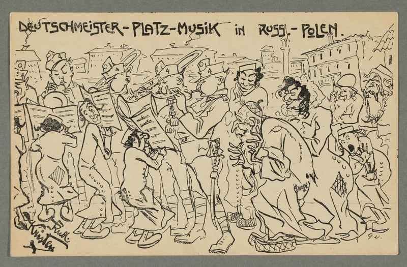 2016.184.721 front WWI postcard of Jews holding music for Germans marching into Russia