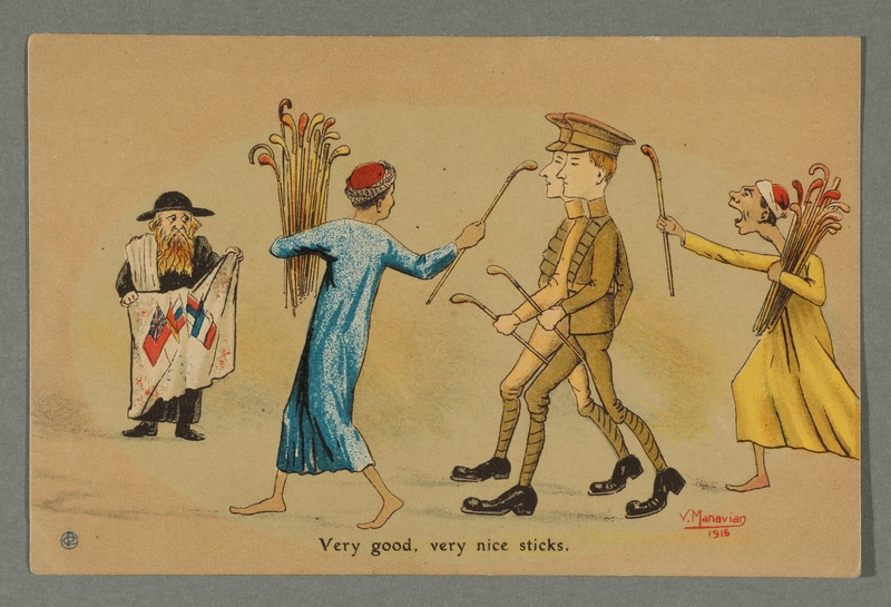2016.184.722 front WWI postcard cartoon of a dismayed Jewish man observing British soldiers in Egypt