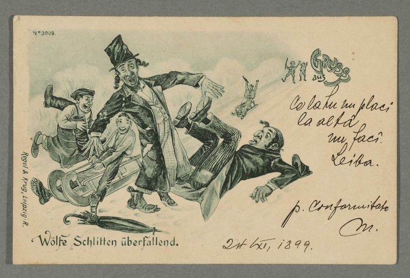 2016.184.723 front Inscribed postcard of 2 Jewish men being knocked over by kids on sleds