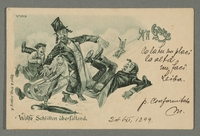 2016.184.723 front Inscribed postcard of 2 Jewish men being knocked over by kids on sleds  Click to enlarge