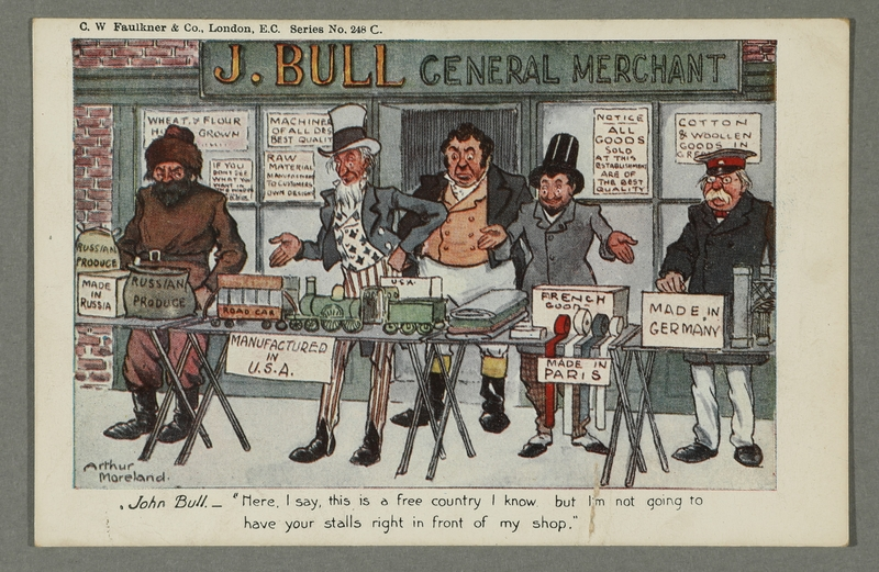 2016.184.728 front Postcard cartoon of John Bull objecting to foreign imports