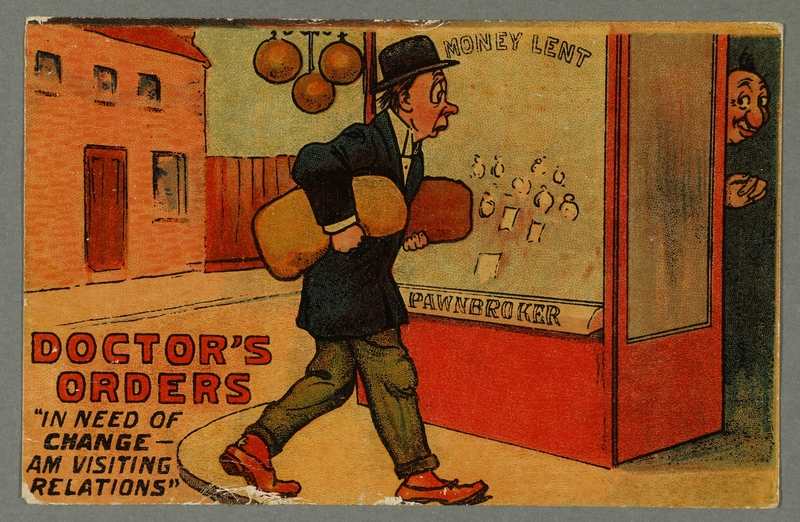 2016.184.731 front Inscribed postcard with a cartoon of a Jewish pawnbroker