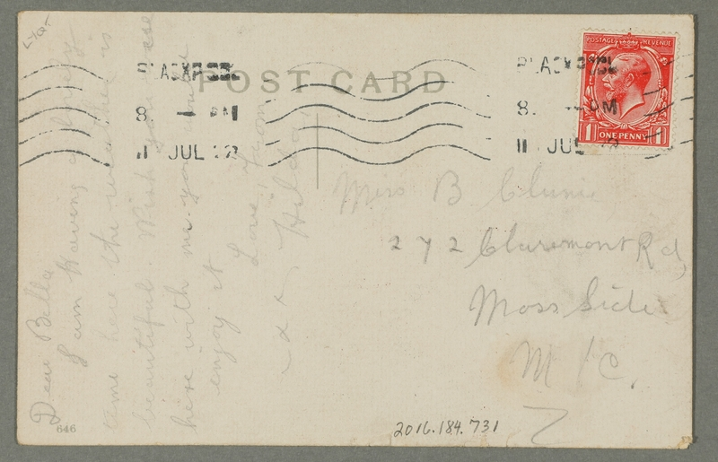 2016.184.731 back Inscribed postcard with a cartoon of a Jewish pawnbroker