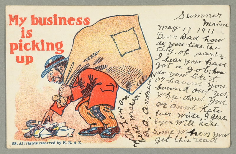 2016.184.736 front Inscribed postcard with an image of a Jewish peddler