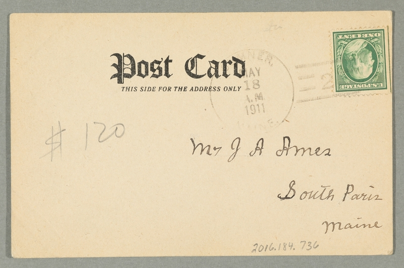 2016.184.736 back Inscribed postcard with an image of a Jewish peddler