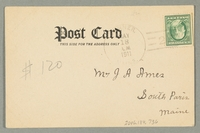 2016.184.736 back Inscribed postcard with an image of a Jewish peddler  Click to enlarge