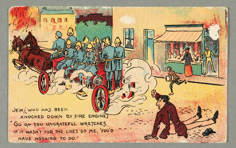 2016.184.737 front Inscribed postcard cartoon making fun of the Jewish fire sale stereotype