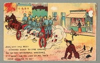 2016.184.737 front Inscribed postcard cartoon making fun of the Jewish fire sale stereotype  Click to enlarge