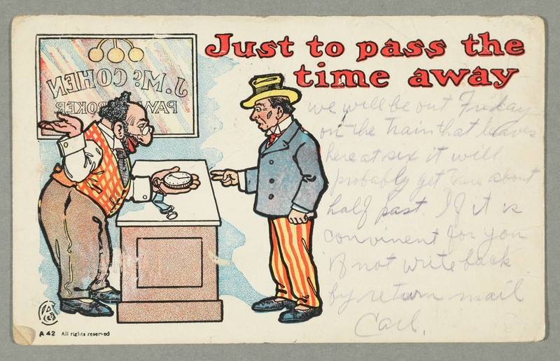 2016.184.738 front Inscribed postcard of a Jewish pawnbroker & customer with a watch