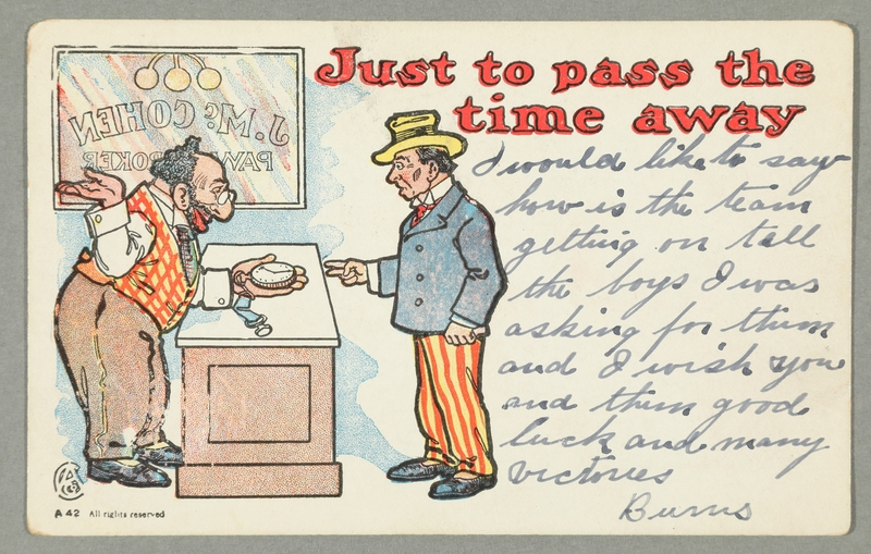 2016.184.739 front Inscribed postcard of a Jewish pawnbroker & customer with a watch