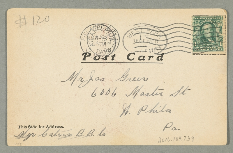 2016.184.739 back Inscribed postcard of a Jewish pawnbroker & customer with a watch