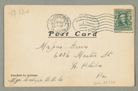 2016.184.739 back Inscribed postcard of a Jewish pawnbroker & customer with a watch  Click to enlarge