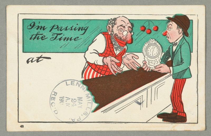 2016.184.741 front Postcard of a Jewish pawnbroker & customer with a mantel clock